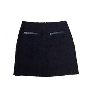 [Theory] Leather Trim Boucle Mini Skirt
